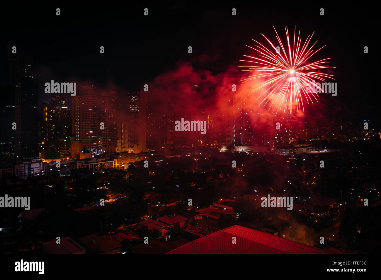 chinese new year fireworks over makati at night in metro manila the philippines - Chinese New Year Fireworks
