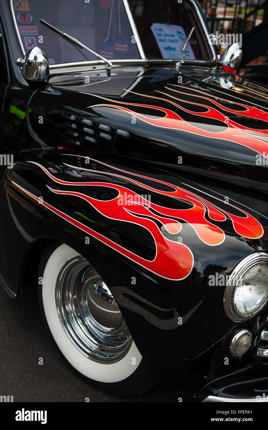 Classic car with flame paintwork detail at Kissimmee Old Town weekly ...