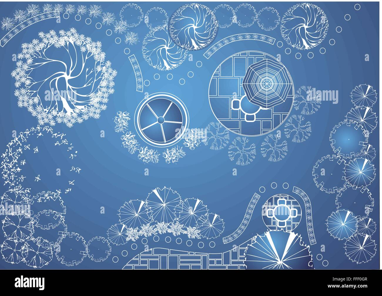 Vector Blueprint Of Landscape Architectural Project Garden Plan With Tree Symbols