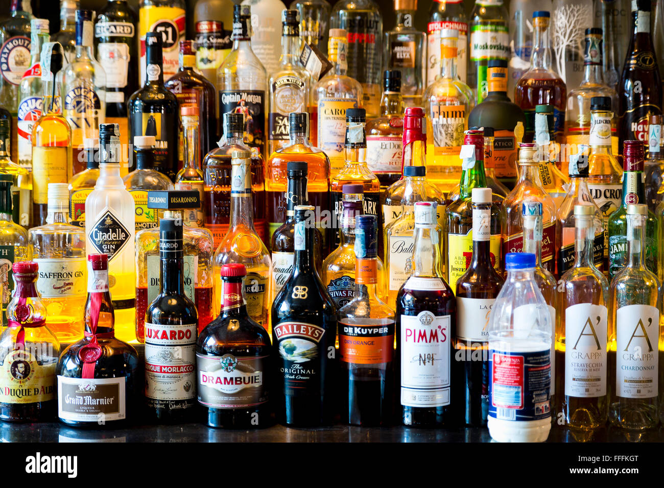 Hard Alcohol Bottles In A Bar Stock Photo Royalty Free Image 95616328 Alamy