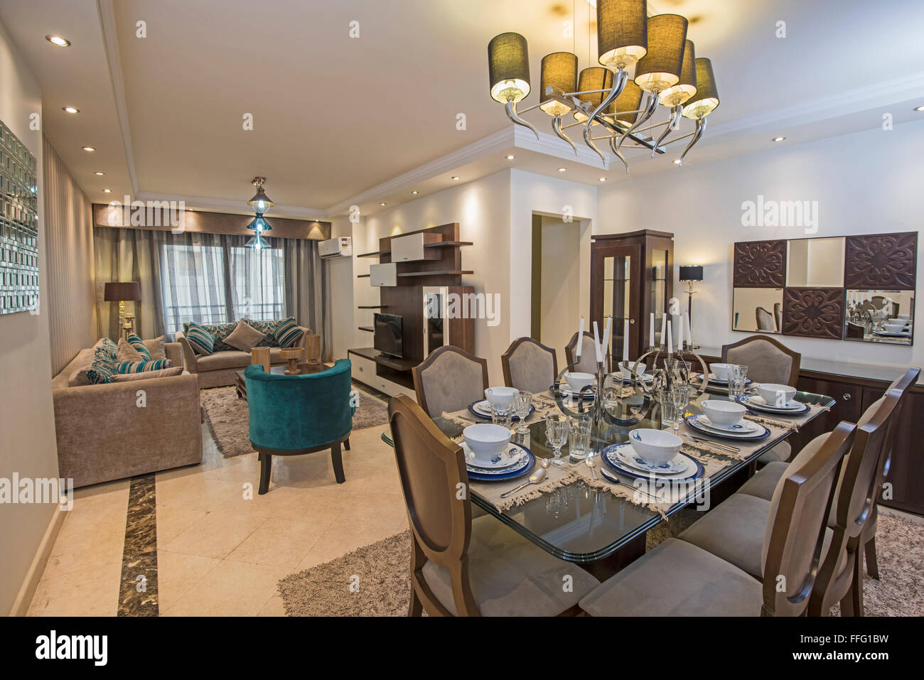 Interior design of a luxury apartment show home living for Interior design for dining area