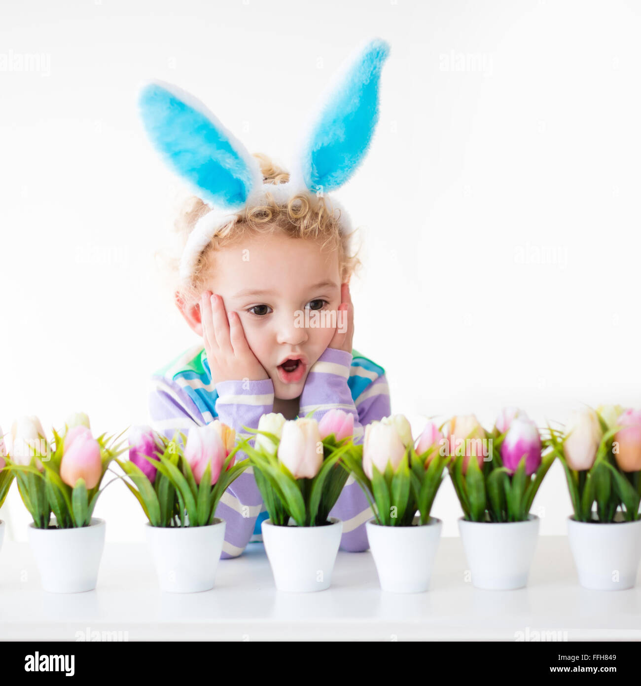 happy children celebrate easter at home boy and wearing