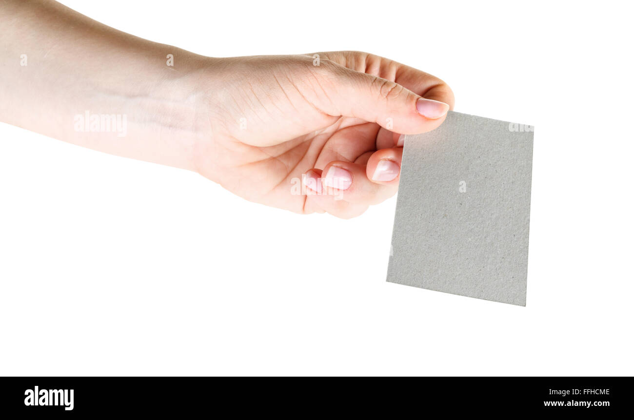 Photo of blank business card in hand isolated with clipping path photo of blank business card in hand isolated with clipping path on white background mock up for design presentations magicingreecefo Choice Image