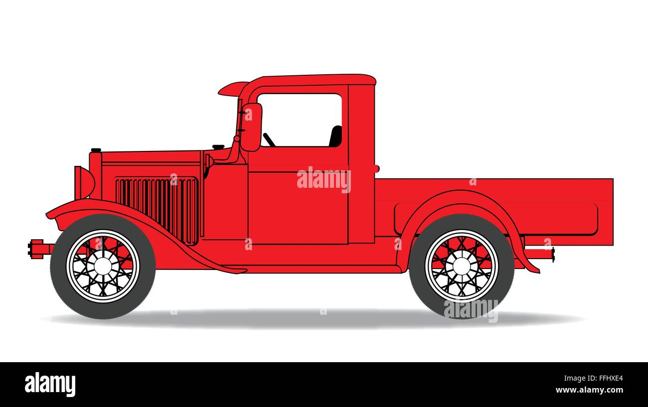 An early old fashioned pickup truck over a white background Stock ...