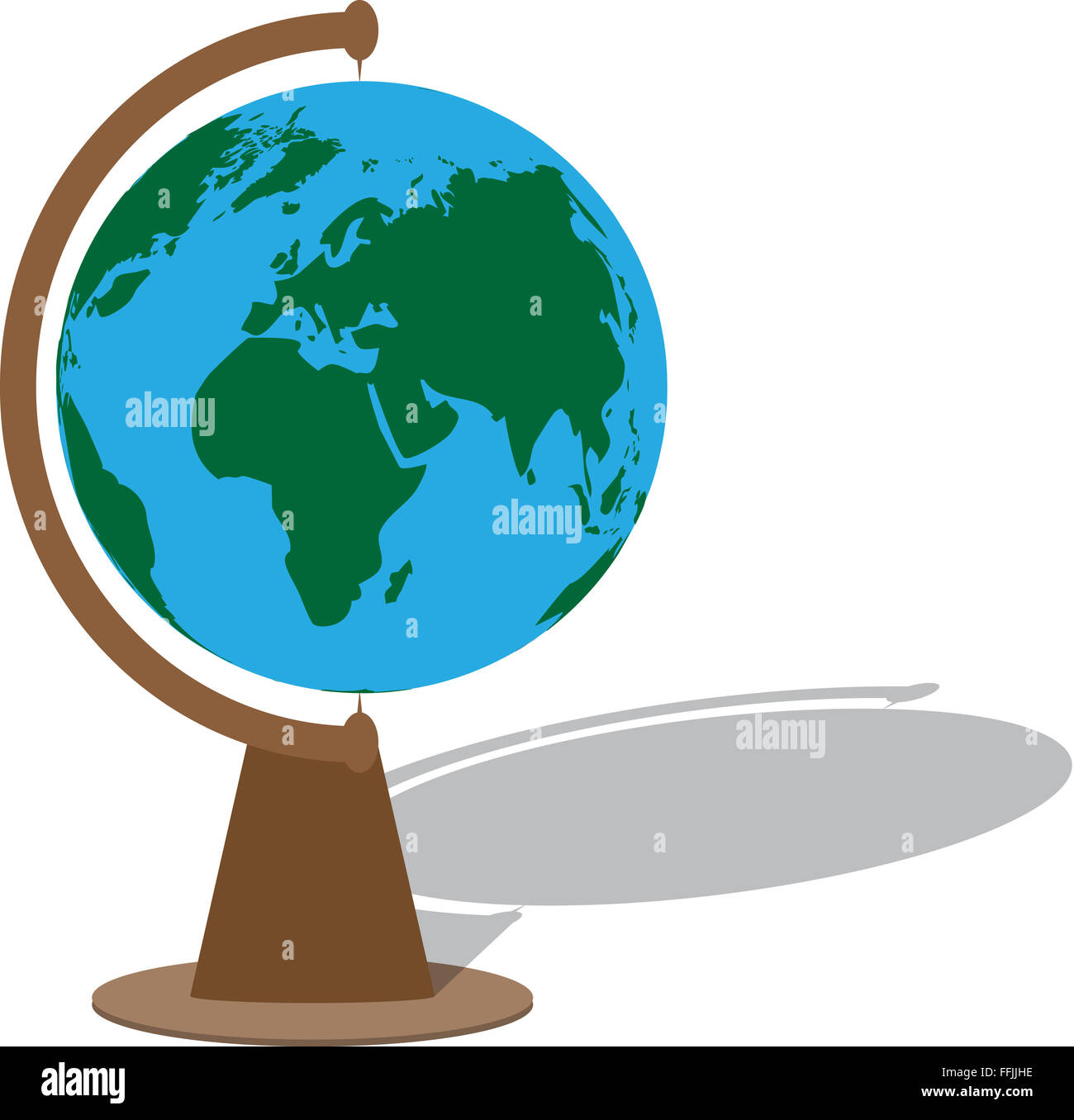 World Map Globe Ball. Globe with shadow  planet sphere ball world earth map geography Vector abstract flat design illustration