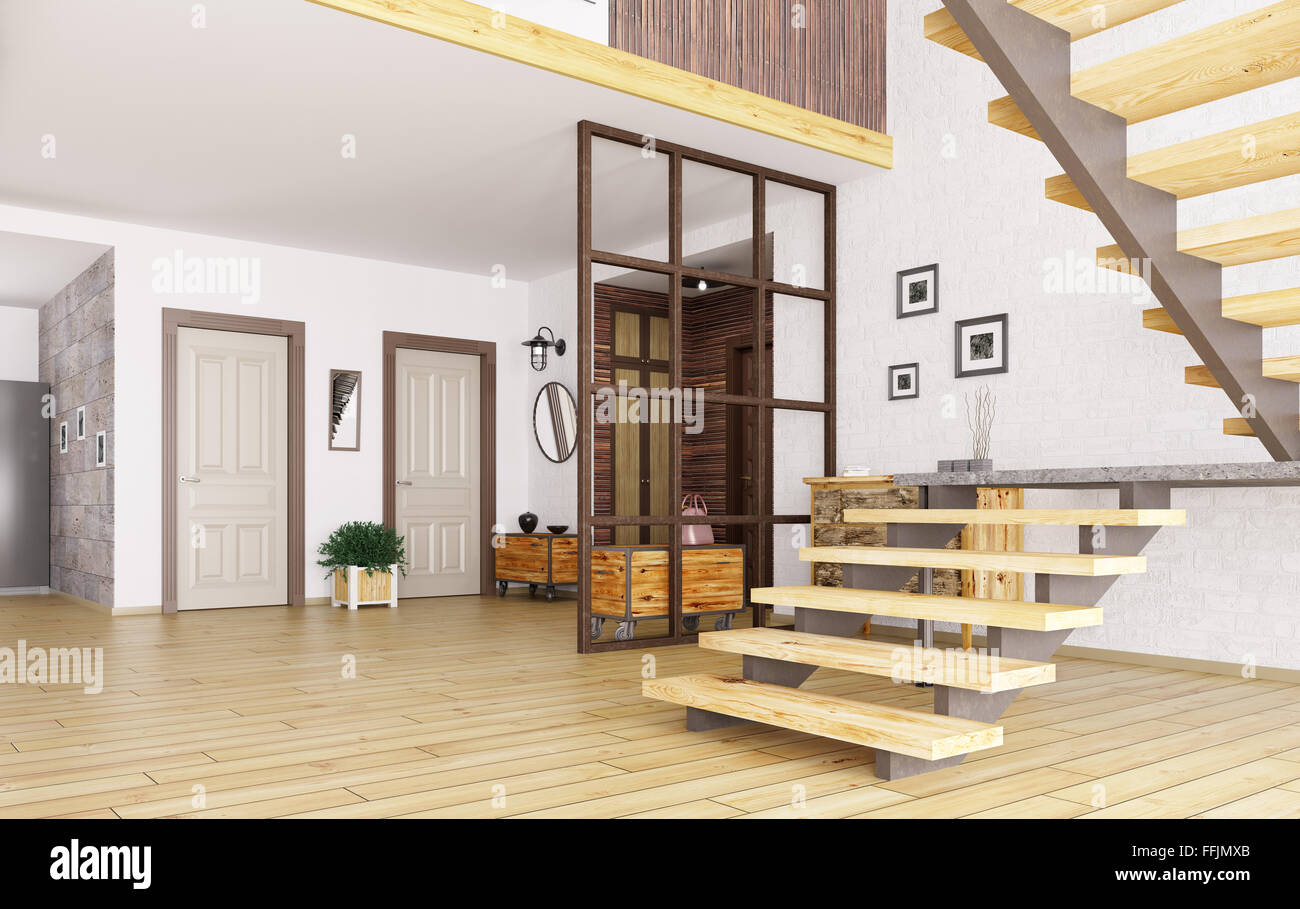Interior of modern entrance hall with staircase 3d render for Modern entrance hall