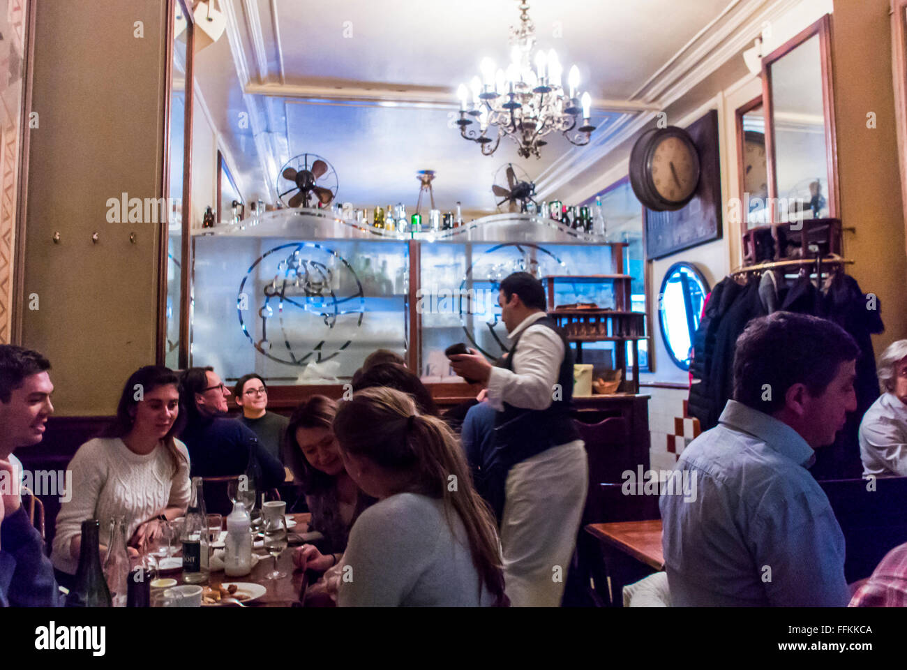 Paris France People Sharing Meals Inside Traditional French BIstro