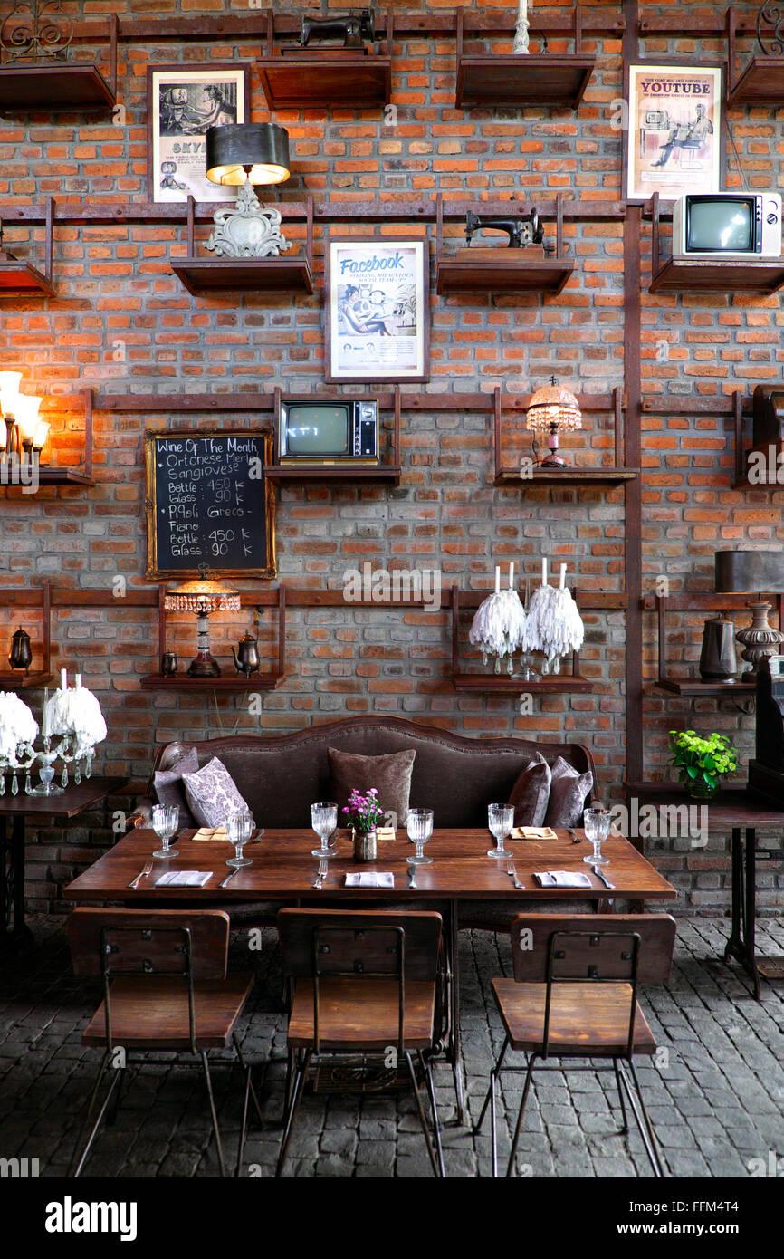 Rustic interior of the bistrot cafe restaurant in seminyak