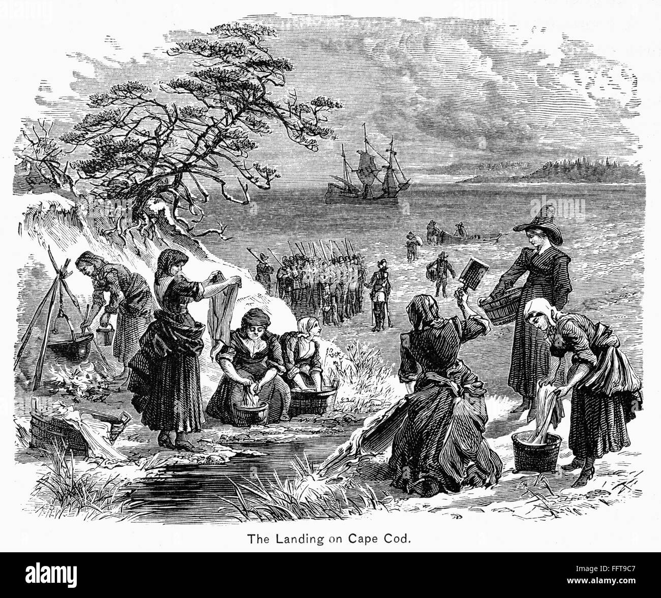 Cape Cod Clothes Part - 40: /nPilgrims Washing Clothes After Landing At Cape Cod, Massachusetts, 1620.  Wood Engraving, American, 19th Century.