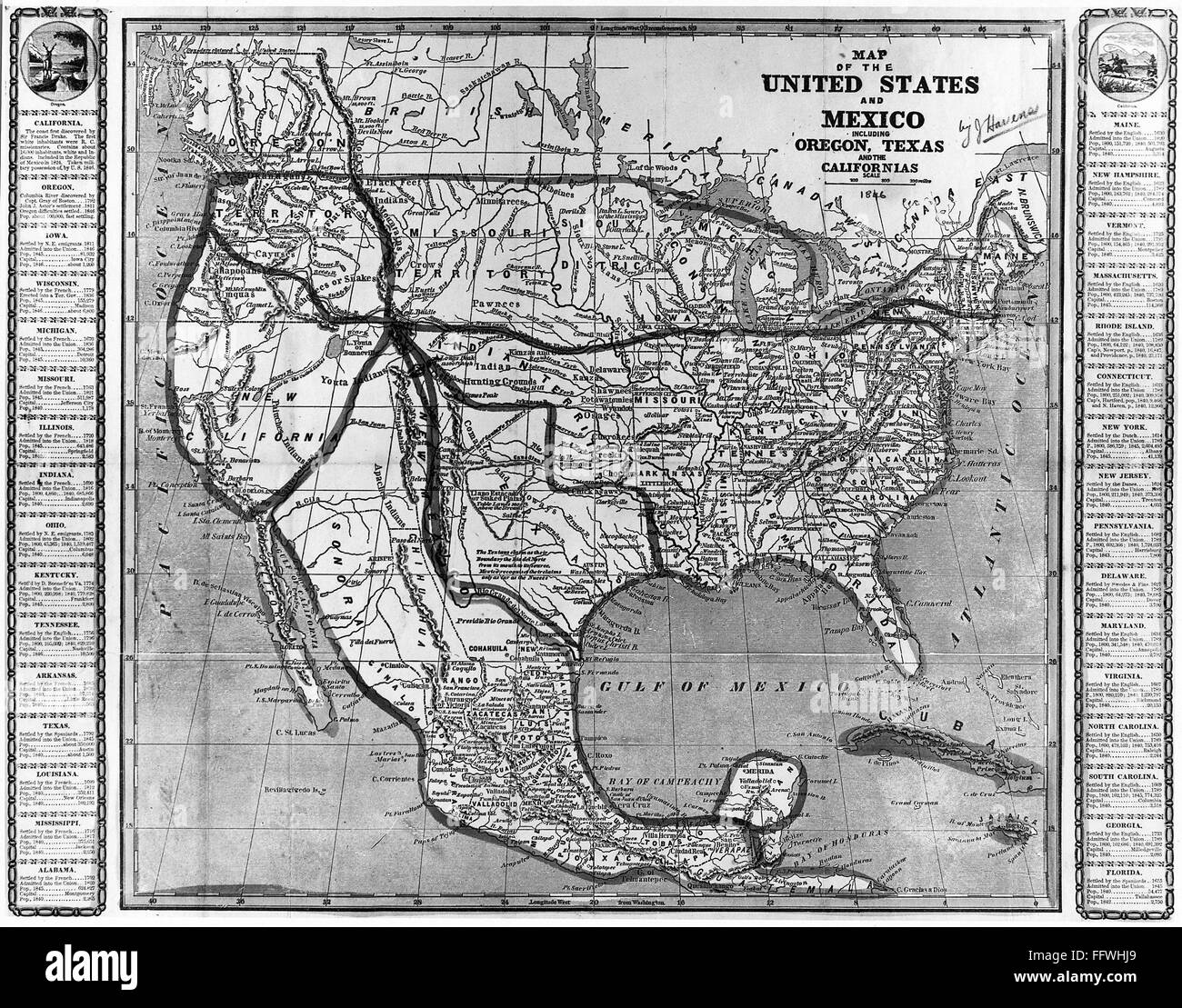 Namerican Map Of The United States And Mexico Including Oregon Texas And The Californias 1846 Before The Mexican War