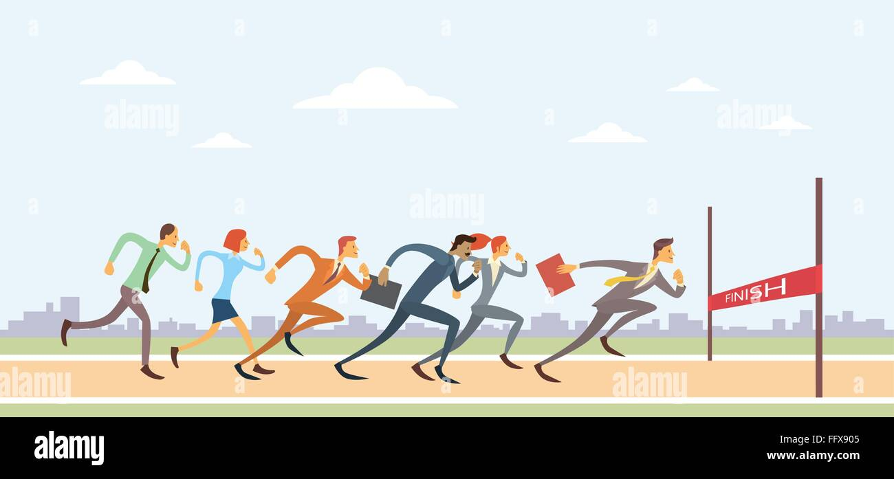 business people group run to finish line team leader competition business people group run to finish line team leader competition
