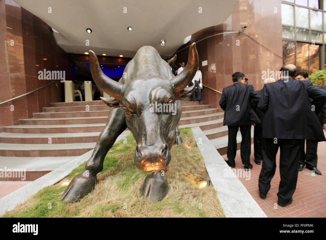 Man bull sculpture stock photos man bull sculpture stock images bronze bull statue at bombay stock exchange bse bombay mumbai maharashtra india buycottarizona