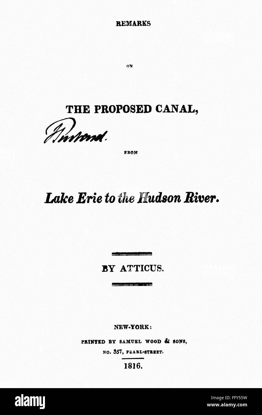 erie canal report 1816 ntitle page of a report by atticus pen ntitle page of a report by atticus pen