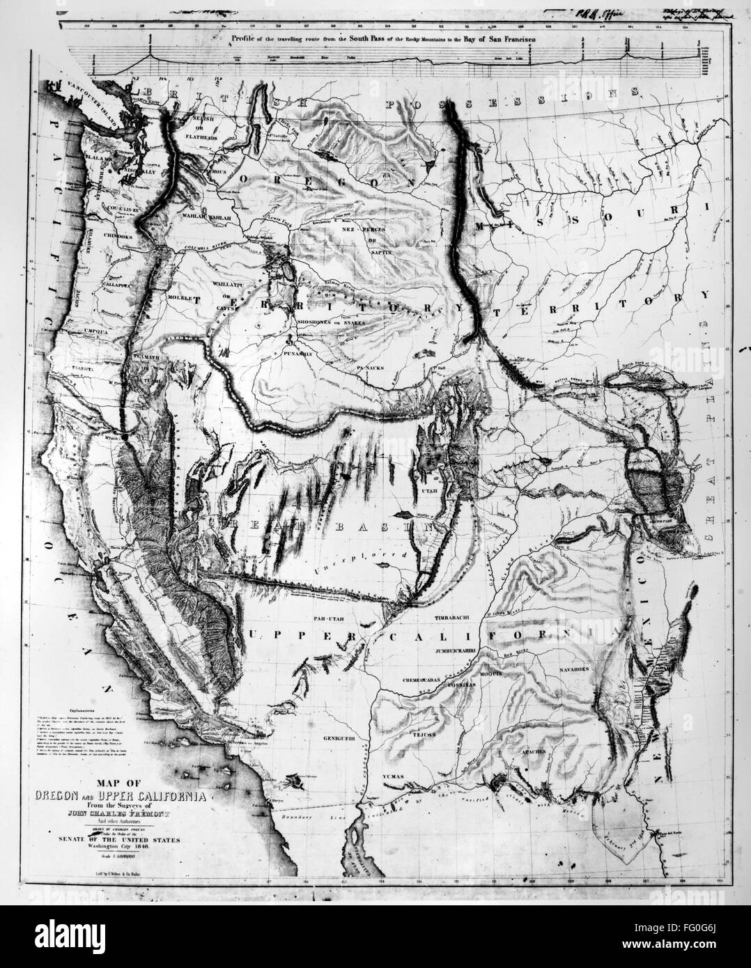 Map Western U S 1848 Nmap Of The Western United States 1848 By Charles Preuss Surveyor On John C Fremont S Expeditions To The Rocky Mountains And