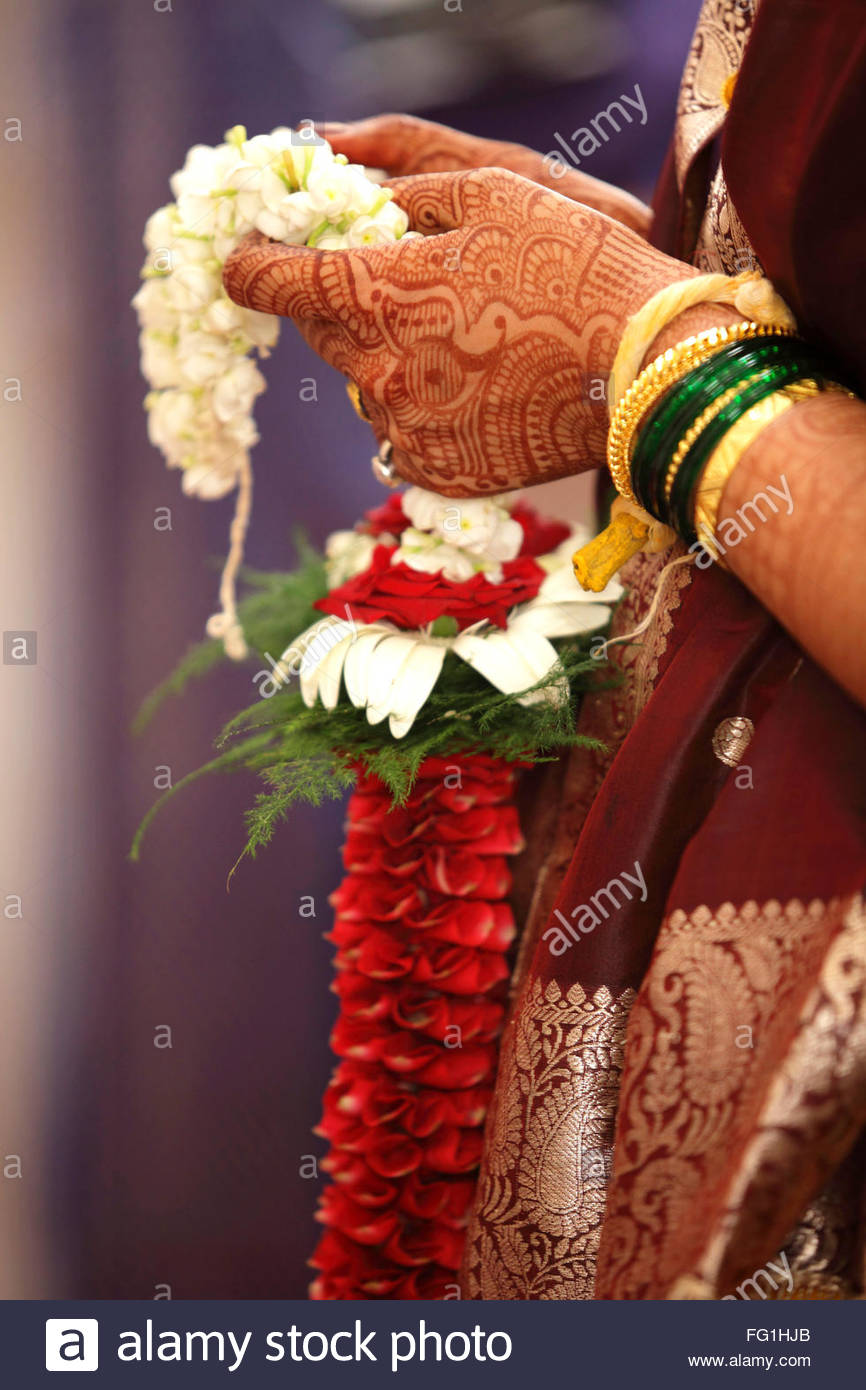 Hindu Wedding Ceremony Bride Holding Garland Heena On Hands
