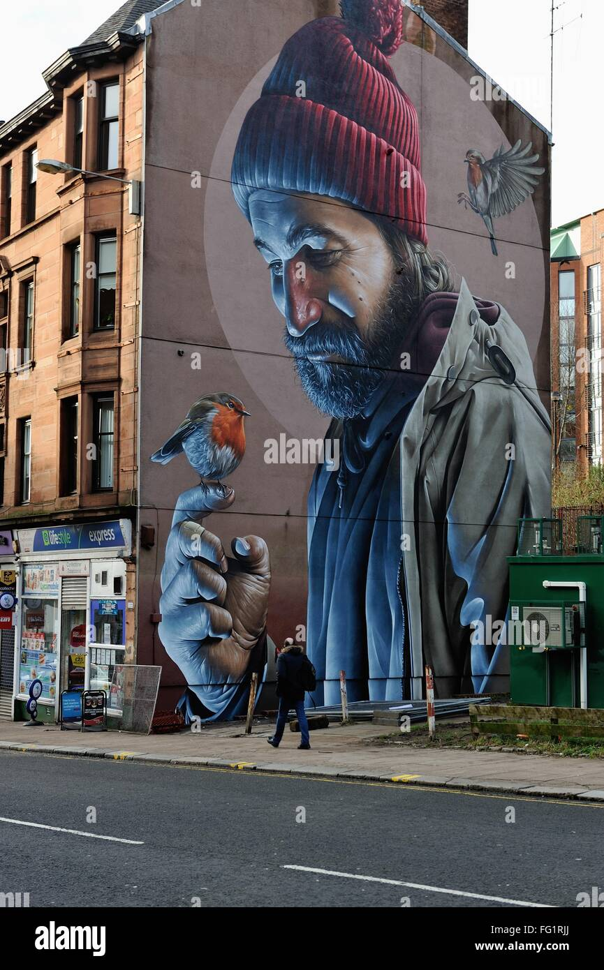 Glasgow uk 17th feb 2016 a new mural by australian for Australian mural