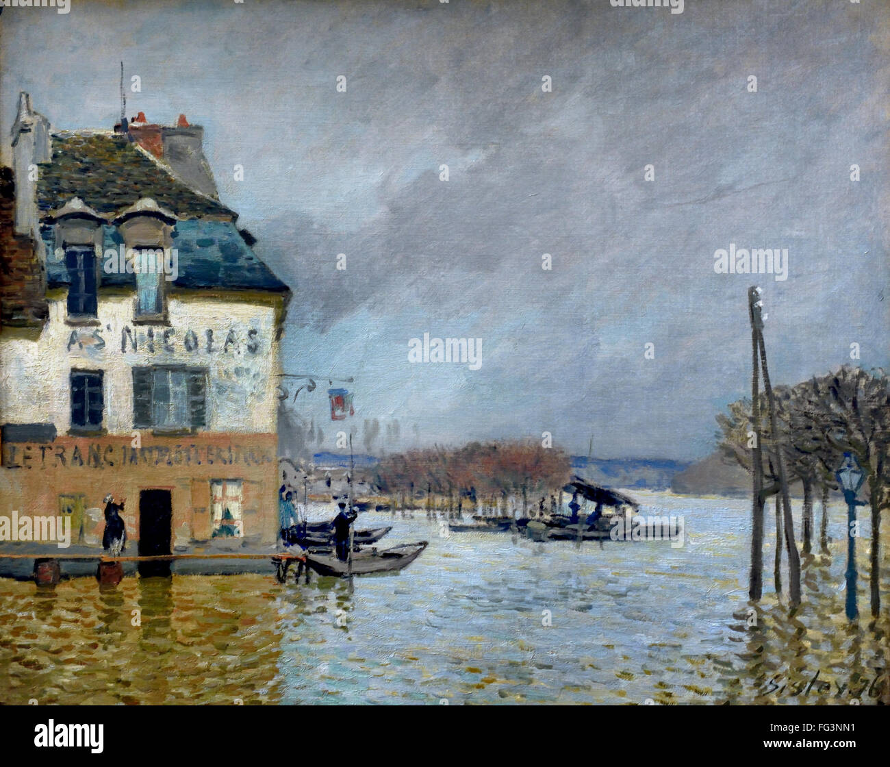 l inondation port marly flood in port marly alfred sisley 1839 stock photo 95969245 alamy. Black Bedroom Furniture Sets. Home Design Ideas