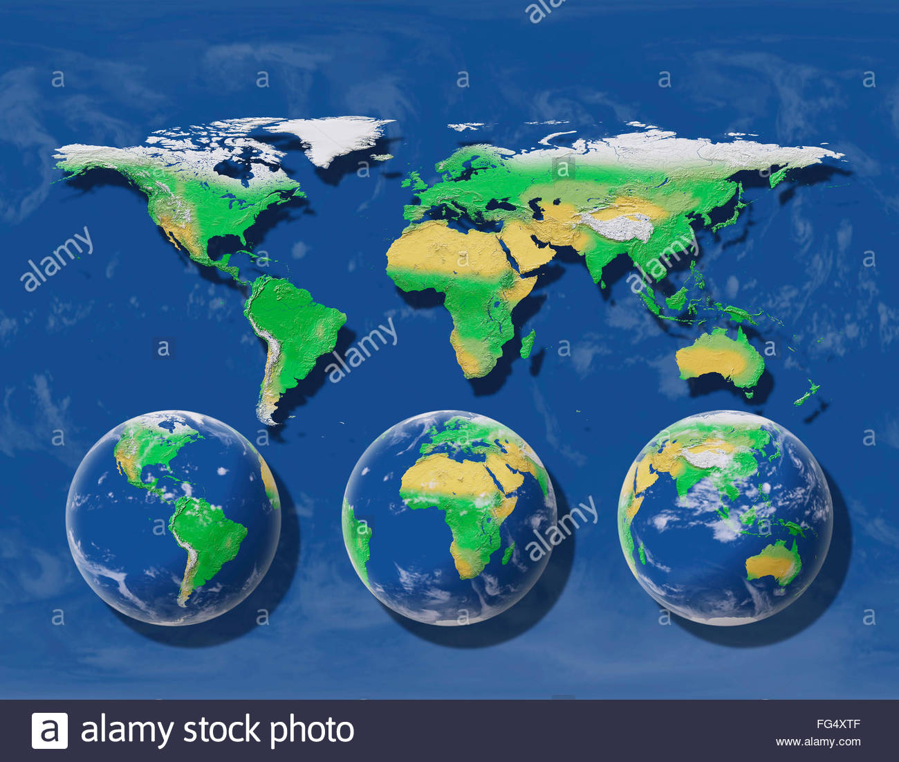 Spherical earth projected on a flat map world maps sphere globe
