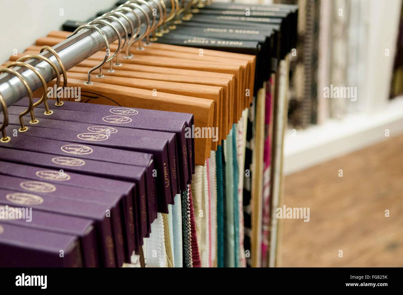Books Of Curtain Fabric Swatches On Display In A Fabric Store.