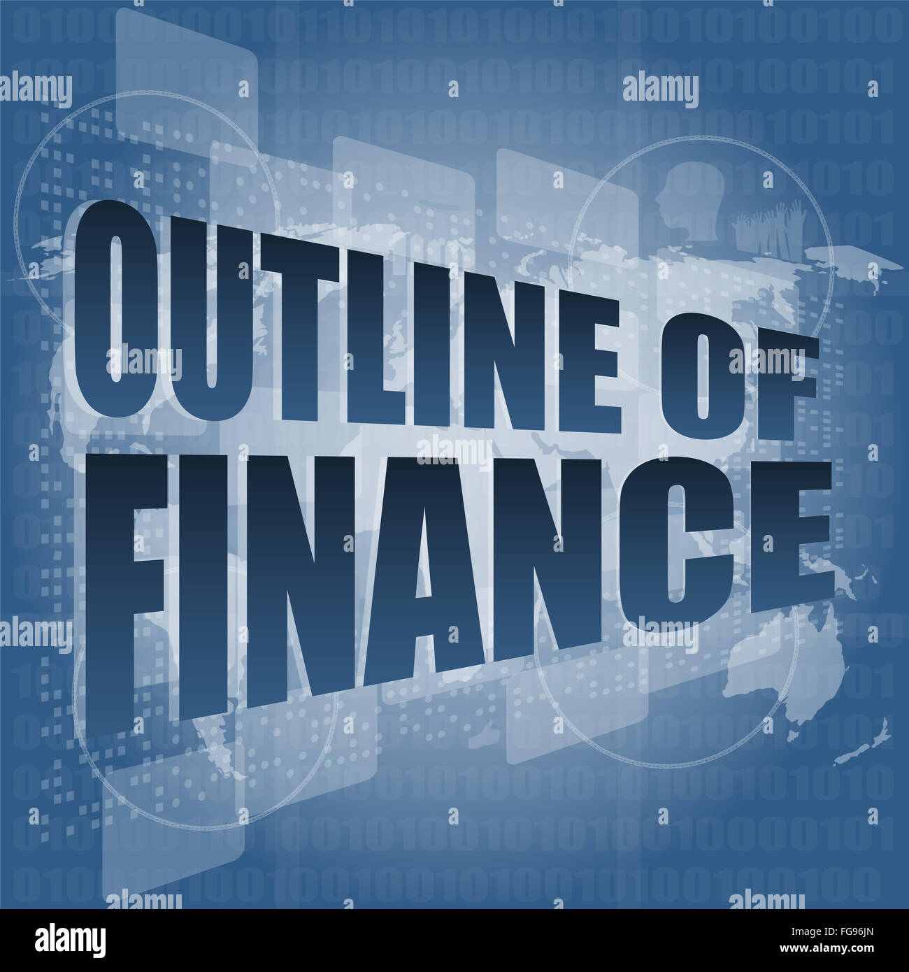 Finance Words: Outline Of Finance Words On Digital Touch Screen Interface