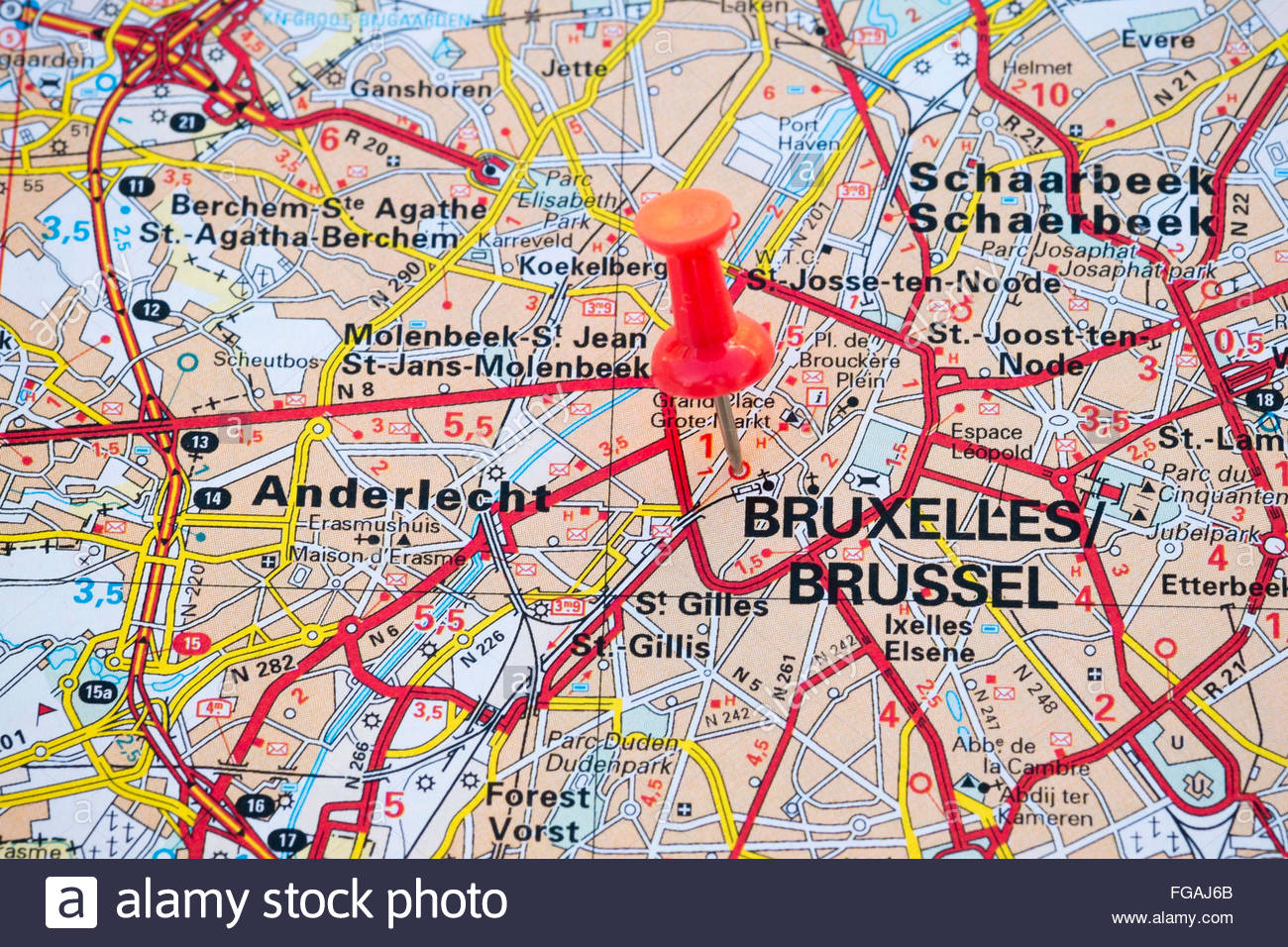 Map Of Brussels Capital City Belgium Stock Photo Royalty Free - Brussels belgium map