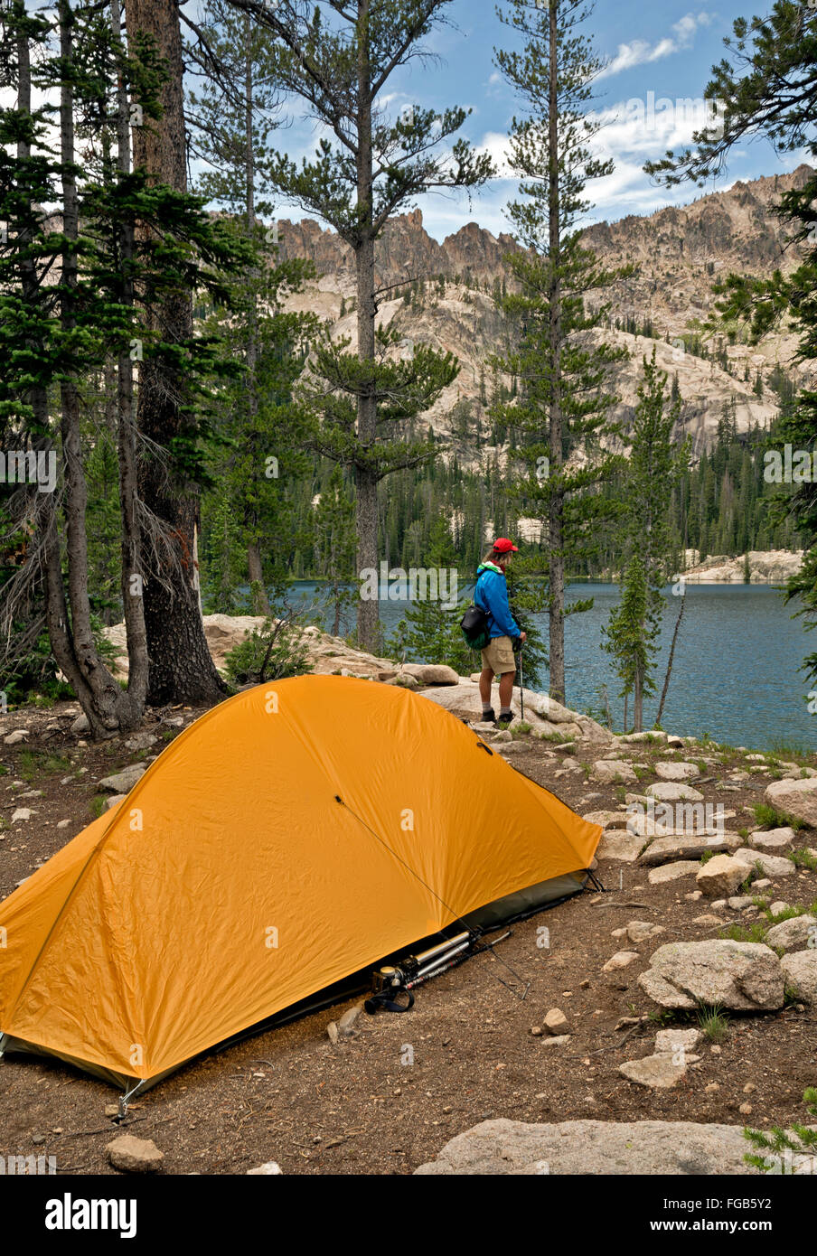 IDAHO - C&site at Alpine Lake in the Sawtooth Wilderness Area of the Sawtooth National Forest & ID00312-00...IDAHO - Campsite at Alpine Lake in the Sawtooth Stock ...