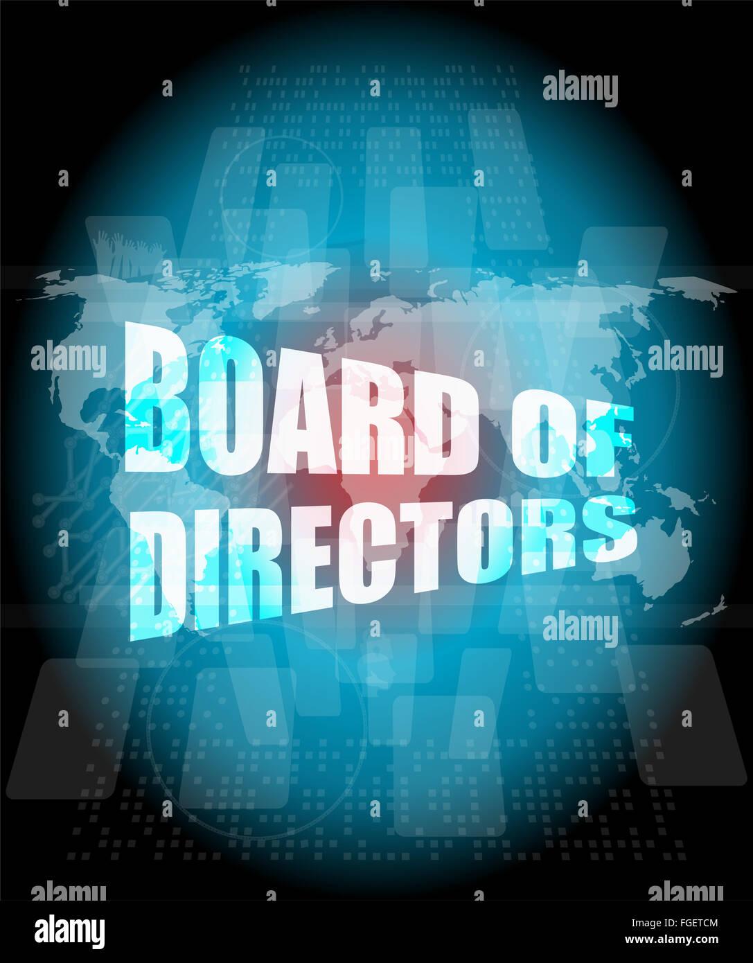 Board of directors words on digital screen background with world board of directors words on digital screen background with world map gumiabroncs Choice Image