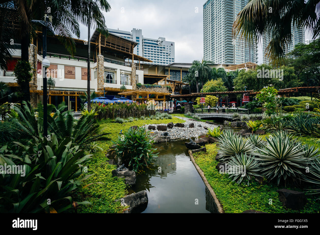 Gardens And Skyscrapers At Greenbelt Park In Ayala Makati Metro Stock Photo Royalty Free