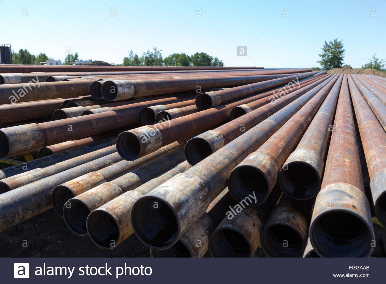 Metal oil well casing pipes stock photo alamy