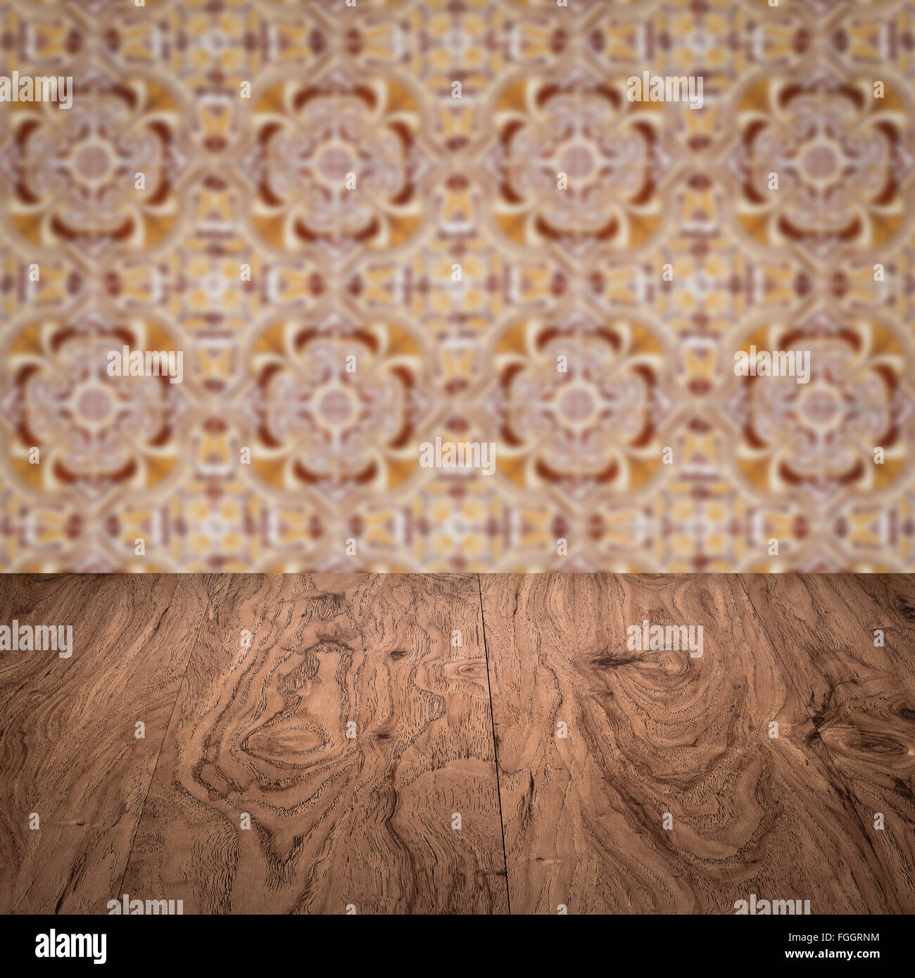Empty wood table top and blur vintage ceramic tile pattern wall in empty wood table top and blur vintage ceramic tile pattern wall in background mock up template for display of your product dailygadgetfo Image collections