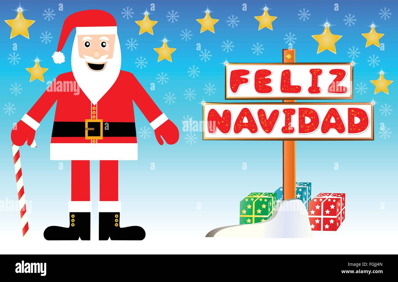Uncategorized Santa Claus In Spanish santa claus illustration with a merry christmas signpost written on spanish