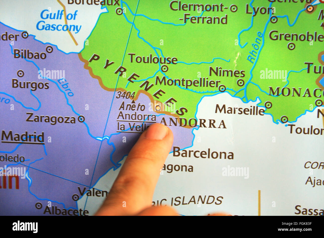 Kid Showing FranceSpain Border On The Map Stock Photo Royalty - Map of france and spain