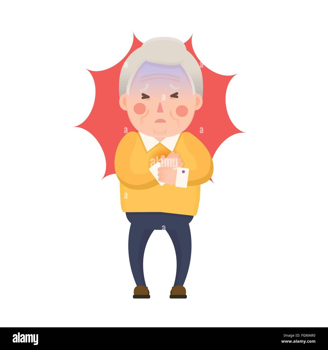 vector illustration of old man having chest pain heart