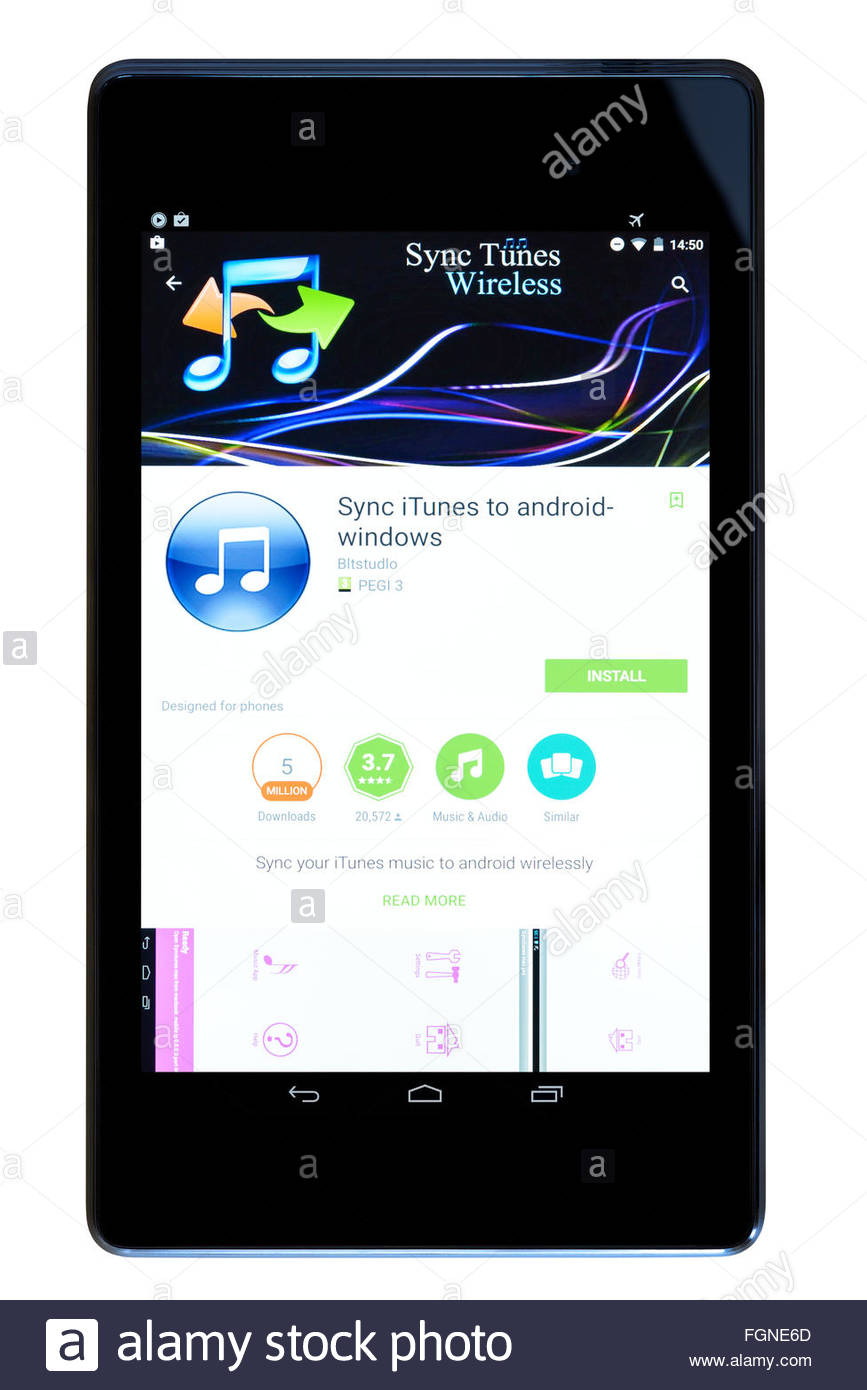 Phone Sync Android Phone With Itunes itunes music sync app on an android tablet pc dorset england uk stock photo uk
