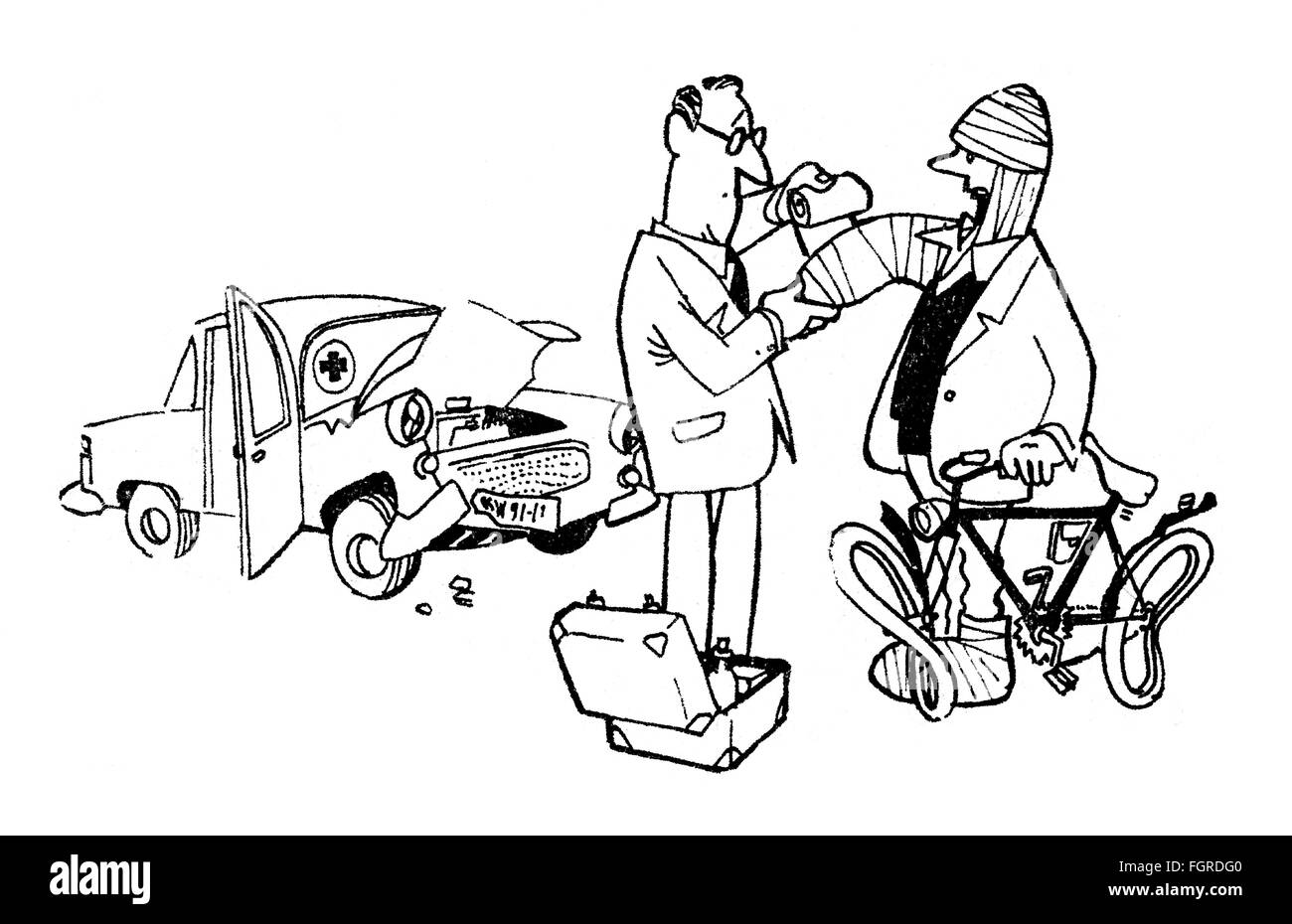 Doctor treating victim of accident, caricature by Theo Immisch ...