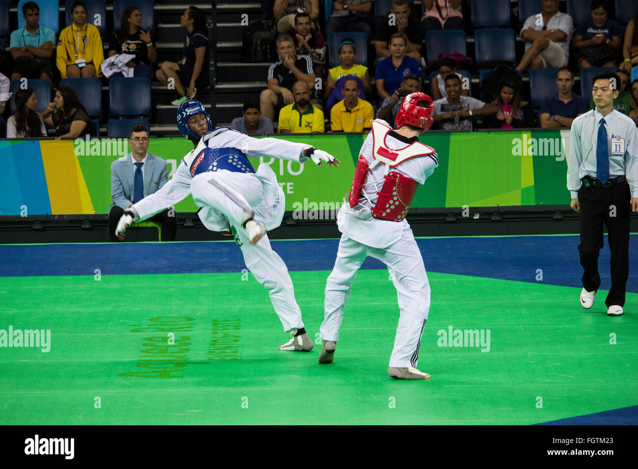 Rio De Janeiro Brazil 21 February 2016 Olympic Park Holds A Test Event For Games The International Taekwondo Tournament Meets