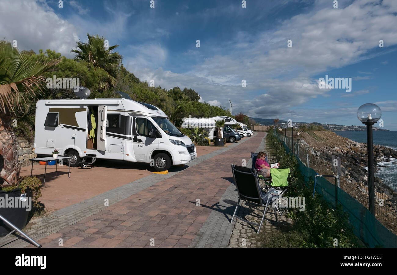 wohnmobil campingplatz am meer sanremo riviera ligurien italien stock photo royalty free. Black Bedroom Furniture Sets. Home Design Ideas