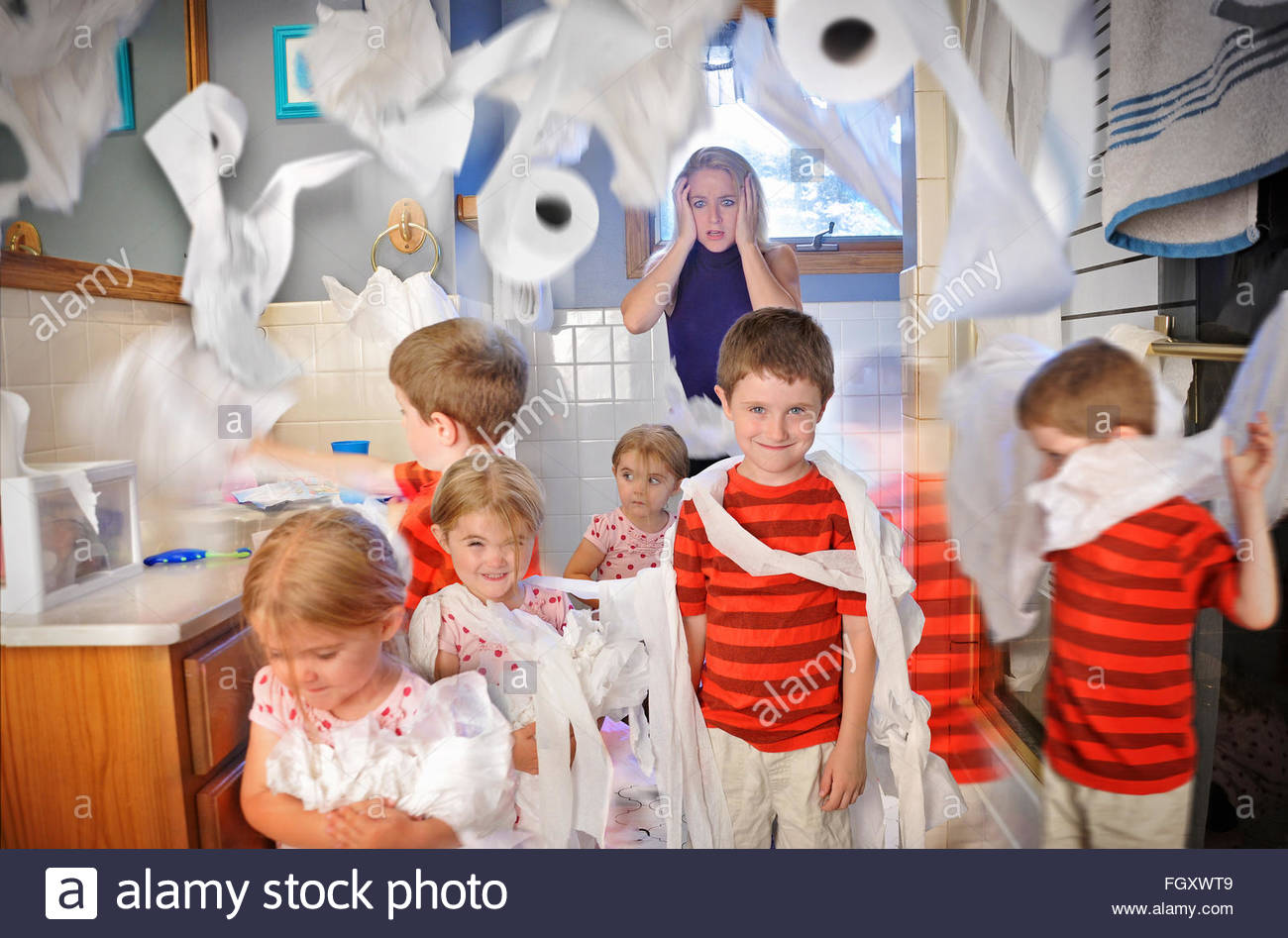 Desperate to use the bathroom - A Mother Is Shocked And Full Of Stress While The Children Make A Mess In The