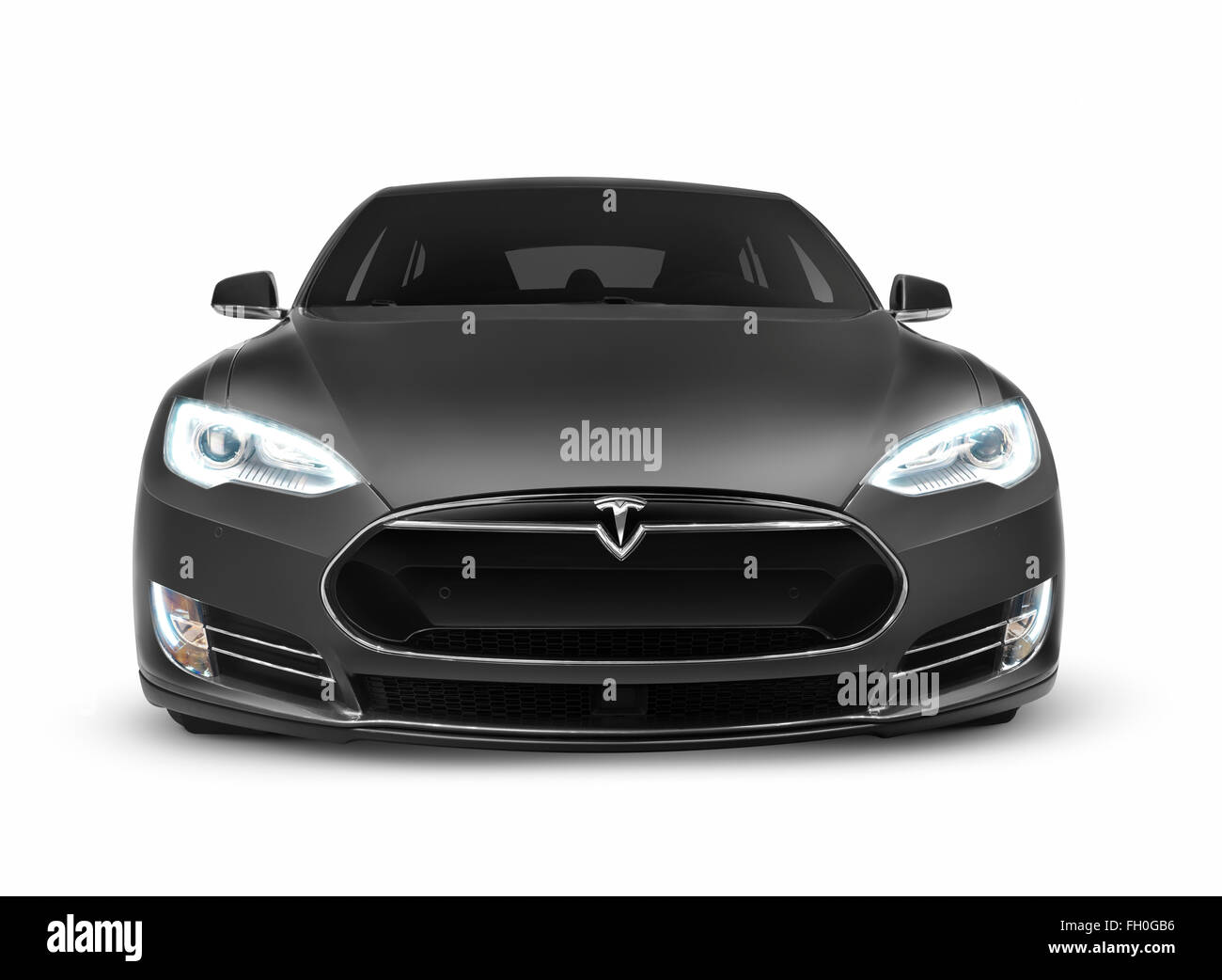 Gray Tesla Model S Luxury Electric Car Front View Isolated On
