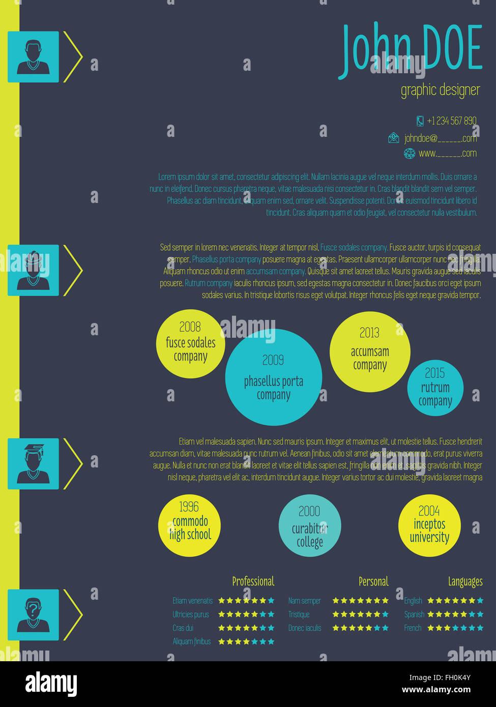 Modern Resume Cv Curriculum Vitae Template Design With Vivid