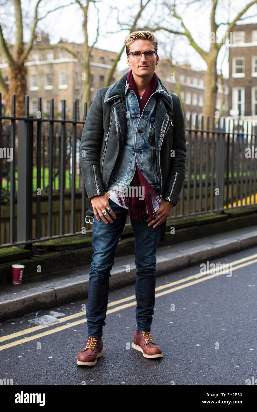Street Style At London Collections Men Fashion Week Autumn Winter Stock Photo Royalty Free