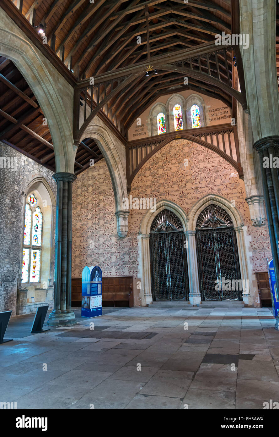 interior of historic old english cathedral with slab stone floor
