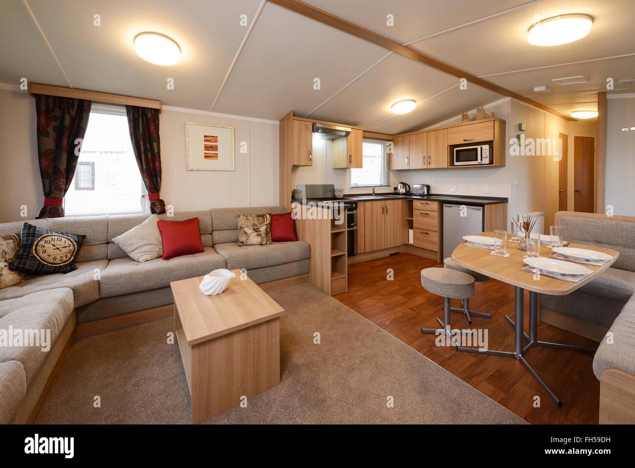 Interior of a static caravan showing living room kitchen for Small caravan interior designs