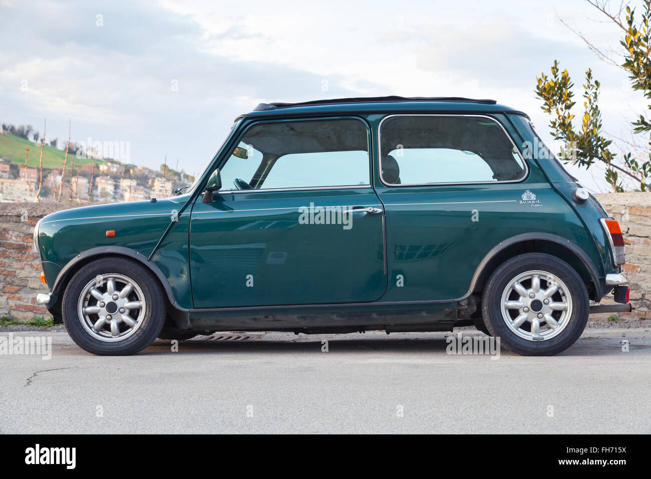 Fermo Italy  city photos : Fermo, Italy February 8, 2016: Dark Green Austin Mini Cooper Mk Iii ...