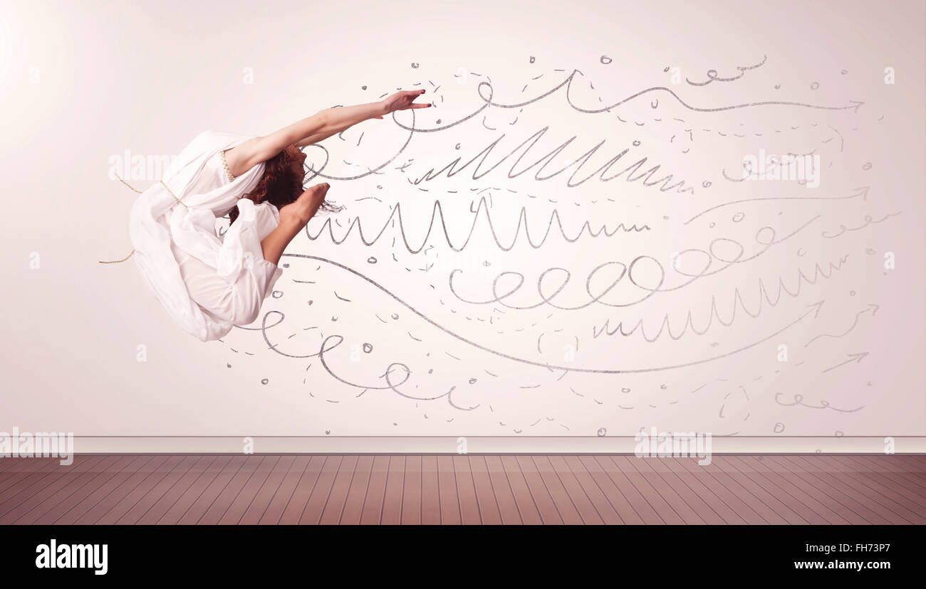 Drawing Lines With Arrows In Photo : Pretty woman jumping with hand drawn lines and arrows come out