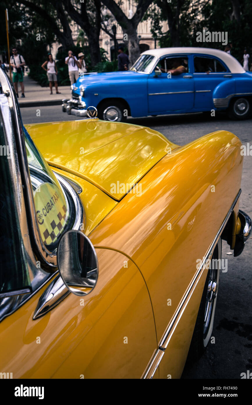 Havana, Cuba. Vintage cars, used as tourist taxis, parked in ...