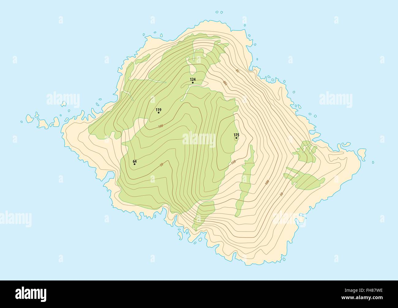 Topographic map of a fictional island stock vector art topographic map of a fictional island gumiabroncs Images