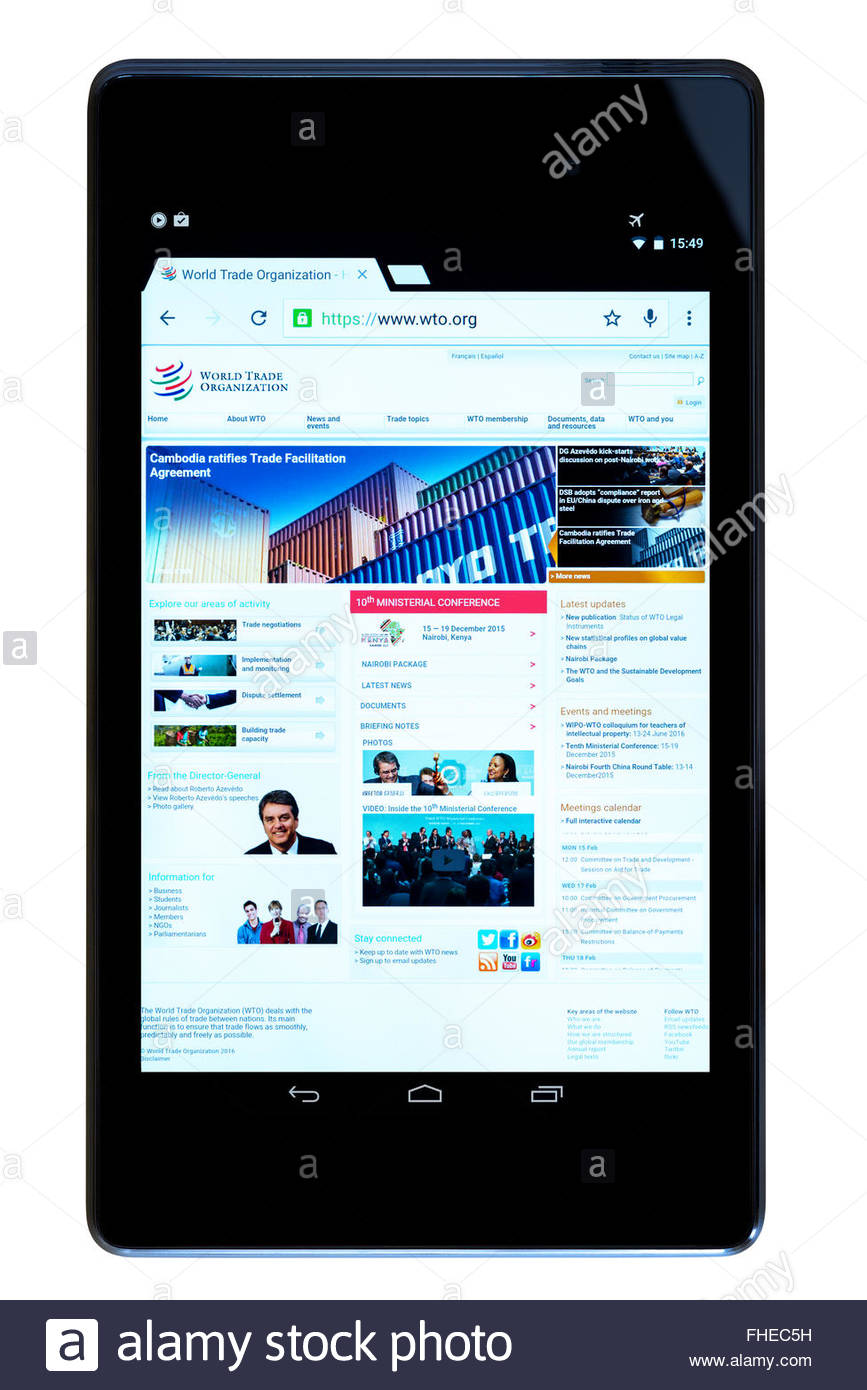 world trade organization app on an android tablet pc, dorset stock