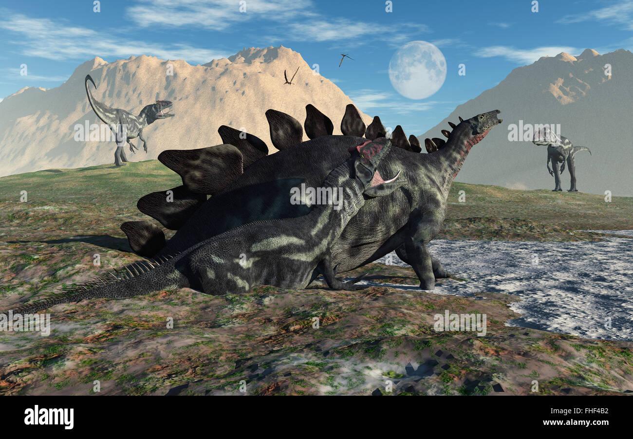 An Allosaurus & A Stegosaurus Caught In A Mud Trap Stock ...