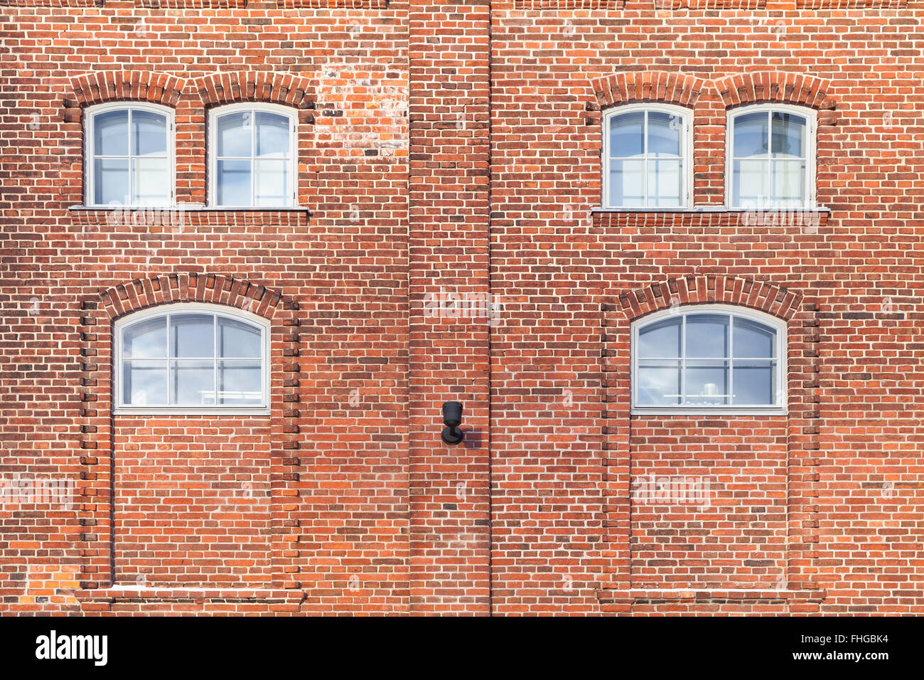 Red Brick Wall With Small Windows Living House Facade
